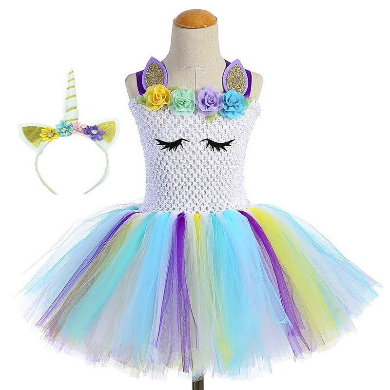 7dbf556bd0f72 Girl Unicorn Birthday Tutu Dress for Little Baby Girl Fluffy Pony Flowers  Christmas Party Tulle Dress