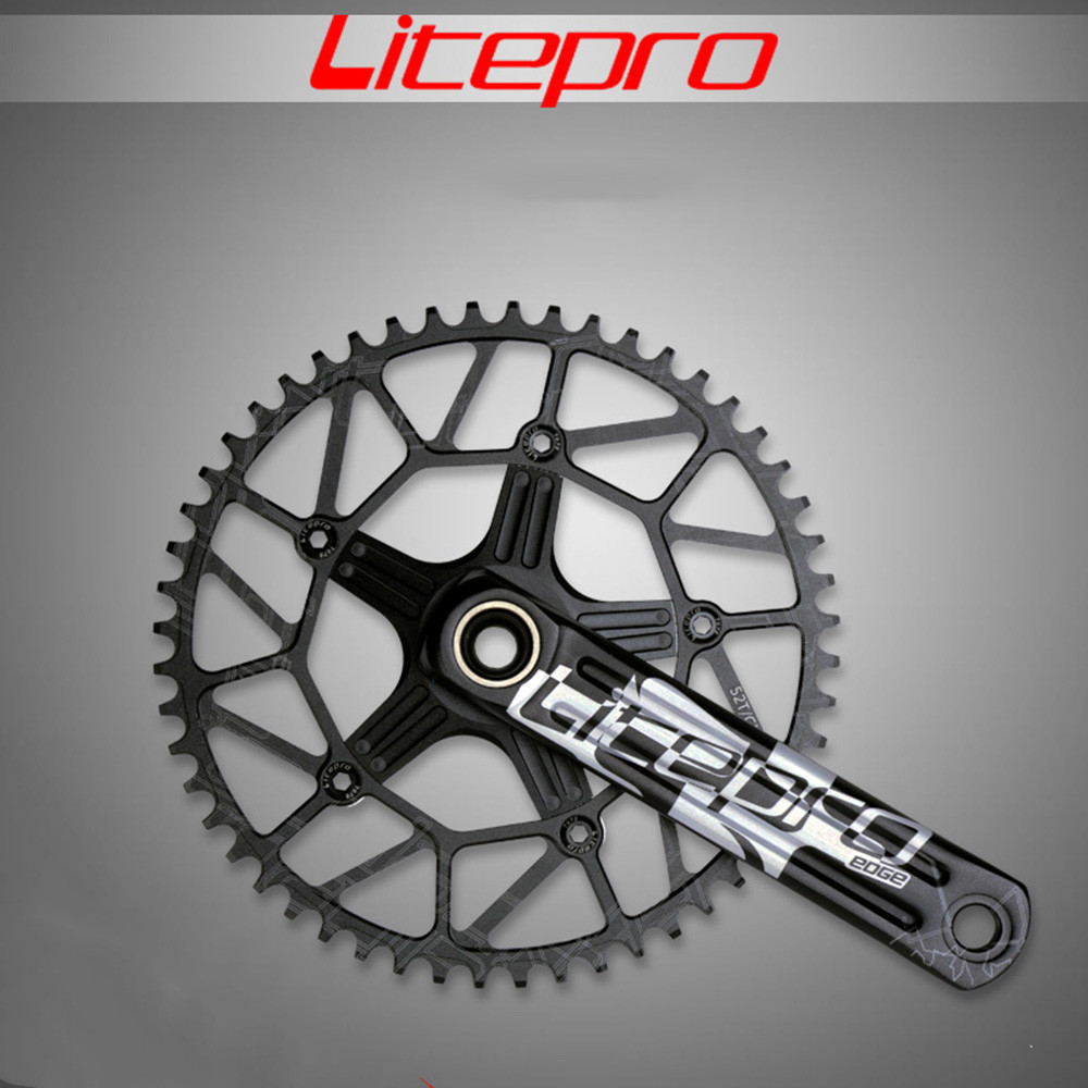 Litepro EDGE Hollow Single Chainring Crankset Crank 50T 52T 54T 56T 58T with GXP BB BCD 130 170/172.5mm звезда rotor chainring bcd110x5 outer black to36 52t c01 502 09010a 0