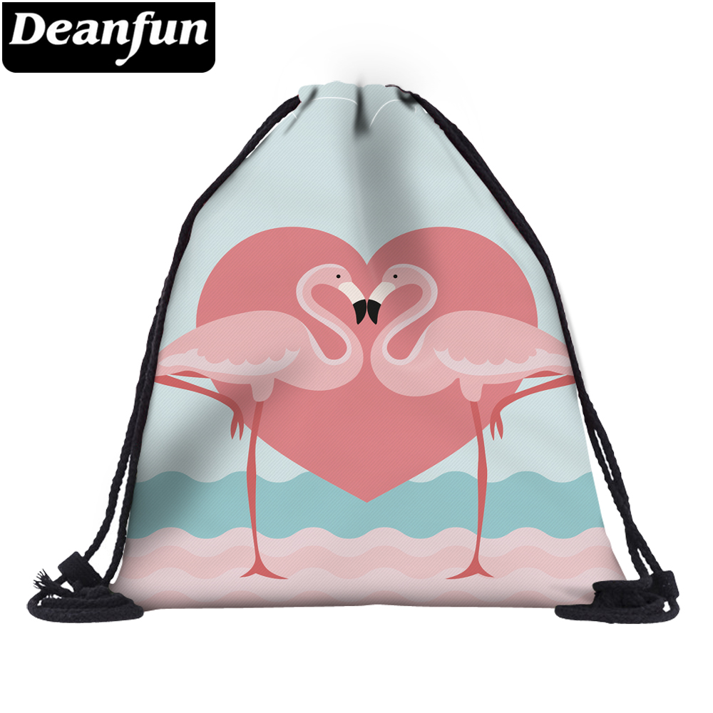 Deanfun 3D Printing Drawstring Bag Flamingo Beach Backpack For Travelling 60076
