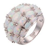 Hurtownie Biały Ogień Opal 925 srebrny Pierścień Mody Pierścionek Rozmiar 6 7 8 9 10 11 F1265