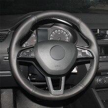 High quality Black Artificial Leather anti-slip customized car steering wheel cover For Skoda Octavia 2017 Fabia 2016 Rapid цена и фото