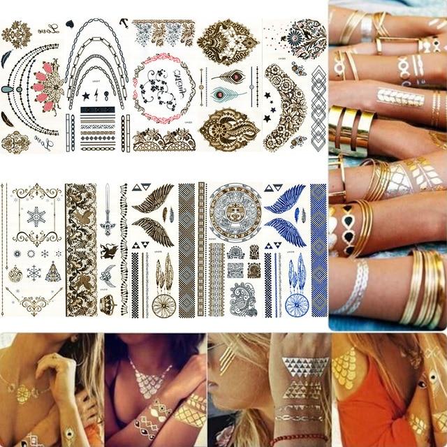 93290078a Vander 10 Pcs Set Waterproof Temporary Tattoo Stickers Metallic Golden Body  Art Flash Tattoos Gold Bracelet Necklace