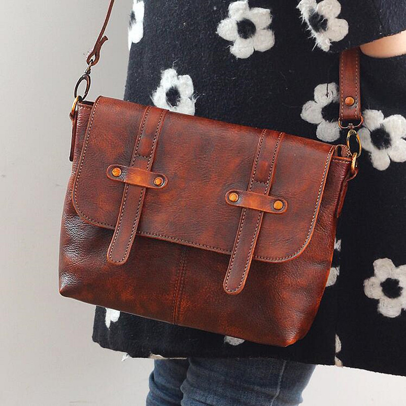 Vintage Designer 100% Genuine Vegetable Tanned Leather Girls School Bag Women's Small Flap Bag Cow Leather Message Messenger Bag vintage designer 100