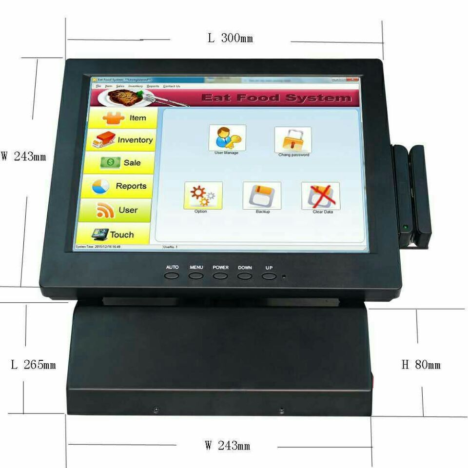 free shipping 12 inch POS machine all in one touch screen pos system restuarant cash register with windows7 Beta most complete supermarket pos system touch pos all in one cash register machine with scanner printer cash drawer display msr