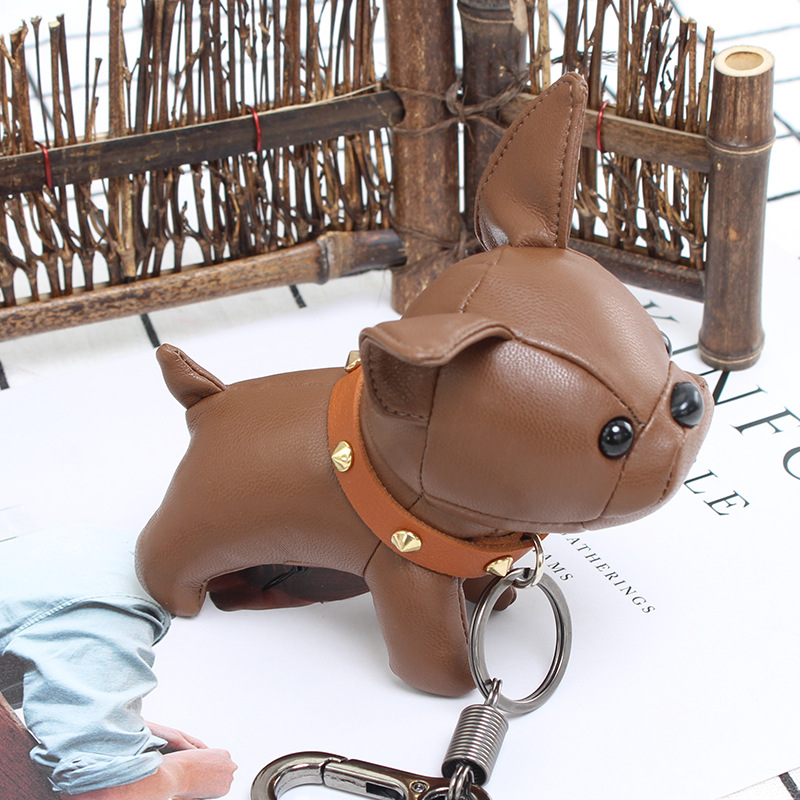 2018 Bulldog Keychain Pu Leather Animal Dog Keyring Holder Bag Charm Trinket Chaveiros Bulldog Bag Accessories Punk Style Pendan