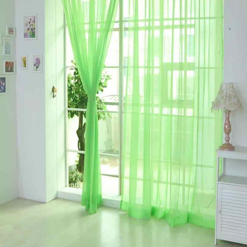 1 PCS Pure Color Tulle Door Window Curtain Drape Panel Sheer Scarf Valances cortina 200cm x 100cm gordijn Vorhang 17aug1
