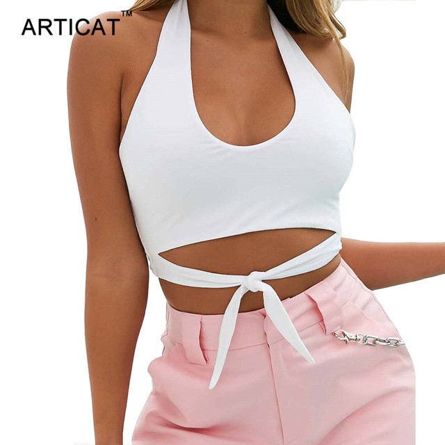 7208de30103e6f Articat Solid Bow Tie Summer Shirt Camisole Women Tank Tops 2018 Sexy  Halter Off Shoulder Wrap