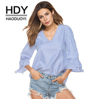 HDY Haoduoyi Women T Shirt Striped Deep V Neck Sexy T Shirts Bow Loose Casual Dovetail