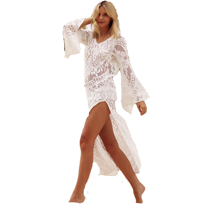 UK WOMENS LACE CROCHET BIKINI BEACHWEAR COVER UP BEACH DRESS SUMMER BATHING SUIT