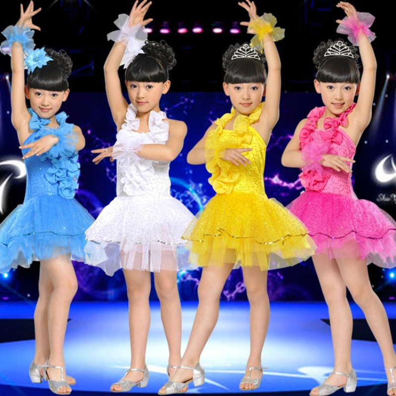 Free shipping Child costume girl's tulle dress paillette modern performance stage dance puff dress JQ-207