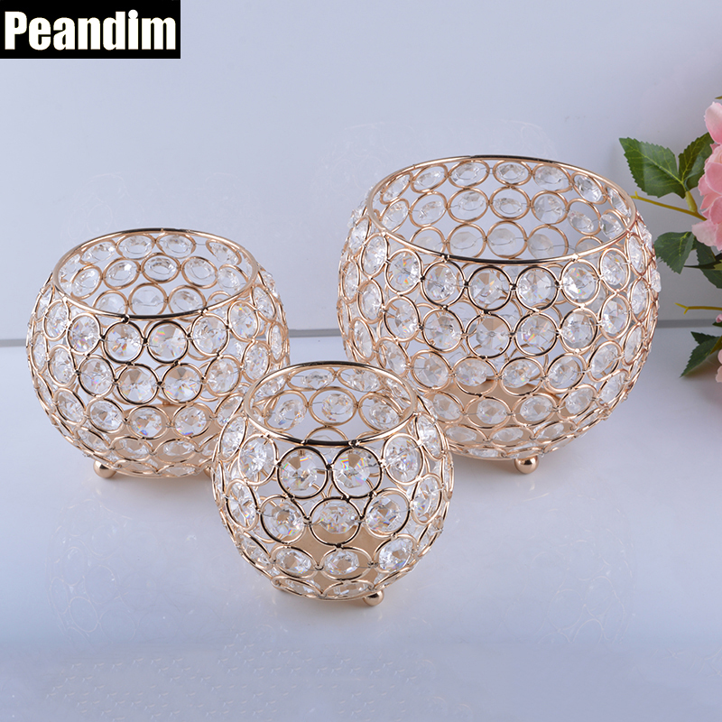 PEANDIM Candle Holders Gold Plated Crystal Candlestick Candle Lantern Candelabra Home Decoration Wedding Party Pencil Container(China)