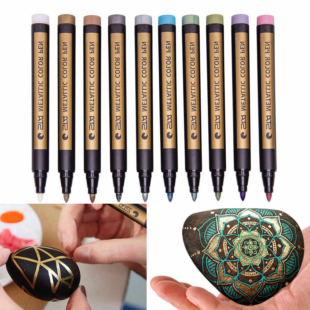ISHOWTIENDA 1 Pcs Assorted Colored Metallic Permanent Paint Markers Pens Metallic Marker Pens School Tools Paint By Number Pens
