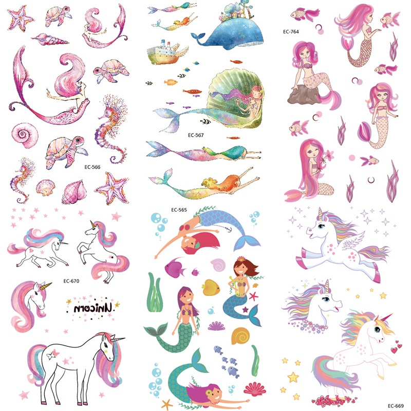 Cartoon Mermaid Unicorn Dinosaur Temporary Tattoo Sticker For Kid Children Fake Hand Joker Tattoo Kids Tattoo Sticker Face Tatoo