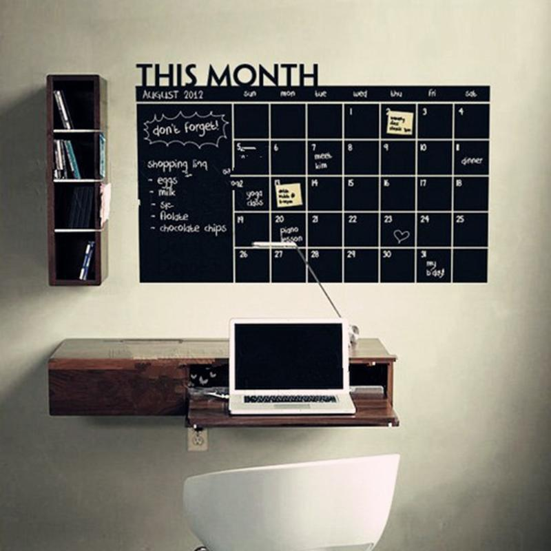 цена на 92*60cm Month Calendar Chalkboard Blackboard Removable Planner Wall Stickers Black Board Office School Vinyl Wall Sticker Decals