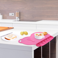 1pcs Silicone Placemat Kids Table Mats Portable Waterproof Heat Resistant Plate Mat Table Decoration 40 27cm