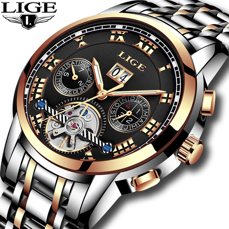 LIGE mens watches top brand luxury Tourbillon men stainless steel automatic mechanical waterproof sports watch relogio masculino mens watches top brand luxury sports watch men waterproof 100m tourbillon mechanical watch man clock relogio masculino army
