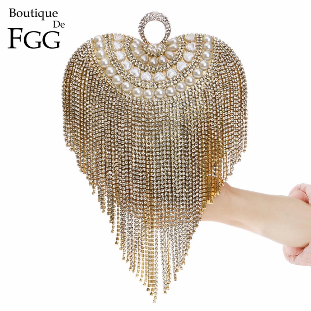 ФОТО Crystal Tassel Heart Knucklebox Finger Ring Women Gold Evening Bag Box Clutch Bridal Beaded Handbags Wedding Purse Clutches Bags