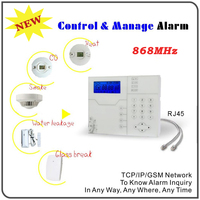 Europe Quality TCP/IP Ethernet GSM Alarm with RJ45 Port, Android IOS APP Remote Control 868MHz Home Alarm Burglar System