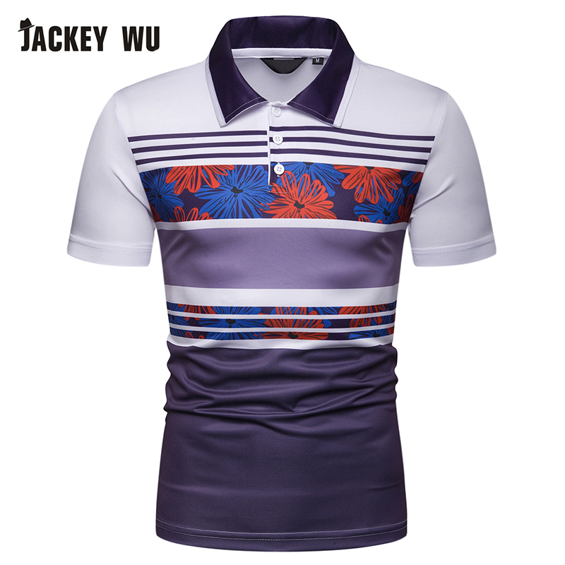 JACKEYWU Striped   Polo   Shirt Men 2019 Summer Fashion Contrast Half Sleeve Cotton Breathable Camisa   Polo   Slim Casual Men's   Polos