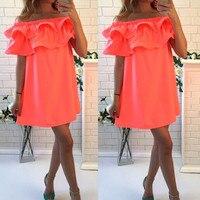 2016 New Summer Dresses Sexy Short Sleeve Beach Dress Fashion Colorful Women Dress Casual Hot Sale