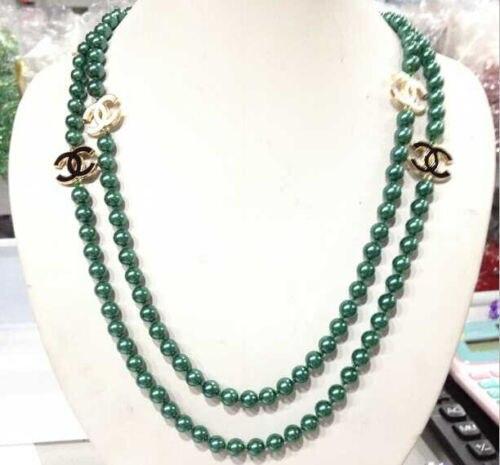 "ddh003474 50 ""NEW Long beautiful 8mm dark green shell pearl necklace AAAA"