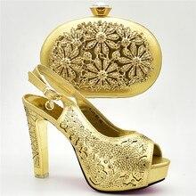 c25dc075a0871 Nouvelle Arrivée Chaussures Italiennes et Sacs Ensemble Décoré avec Strass Chaussures  Femme À Talons Hauts De
