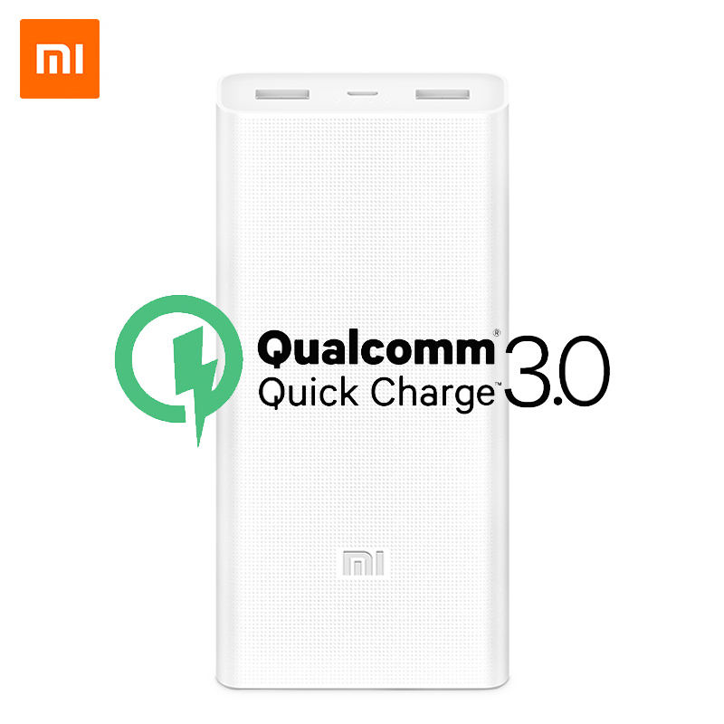 Original Xiaomi Power Bank 20000mAh 2C Quick Charge QC 3.0 Dual USB Ports Mi Powerbank External Battery Pack Portable Charger|Mobile Phone Chargers| |  - title=