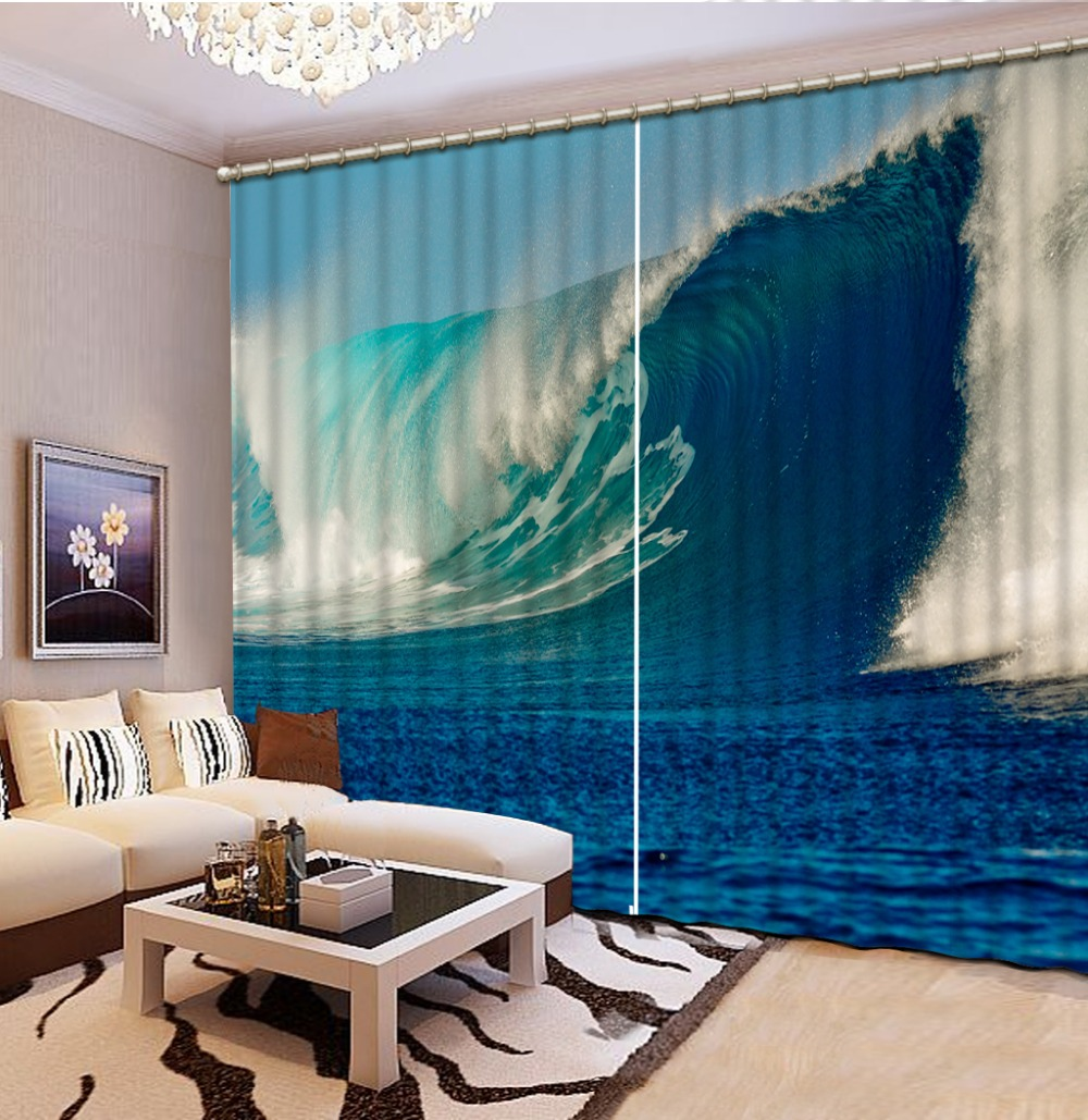 Beach Window Curtains Part - 16: Beach Wave Curtains For Living Room Curtain Window Room High Quality Home  Decoration Factory Diret Sale