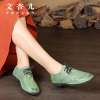 Original Handmade Leather Shoes RETRO Art Brush Color Mori Casual Shoes Shoes Leather Shoes Driving Flat