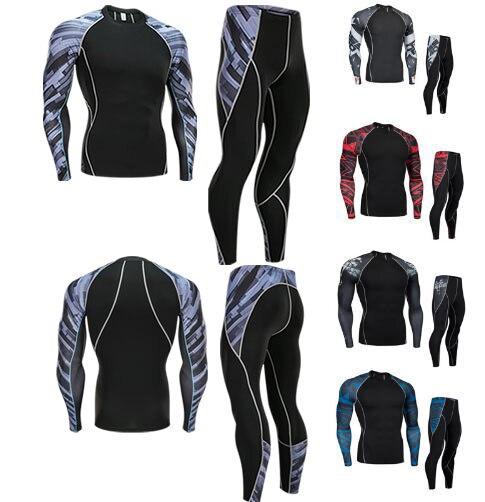 T-shirt Compression Men Muscle Shirt Rashgarda Mma Long Sleeves Fitness Men's Tracksuit Clothing Brand T Shirt+ Leggings Set