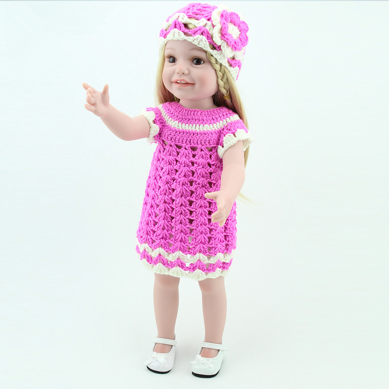 New 18 INCH lifelike American Girl Doll reborn baby doll Pink Sweater Dress Reborn full vinyl dolls as birthday gifts Juguetes 1pcs white pink doll fashion dress for 18 inch dolls american girl doll clothes new style