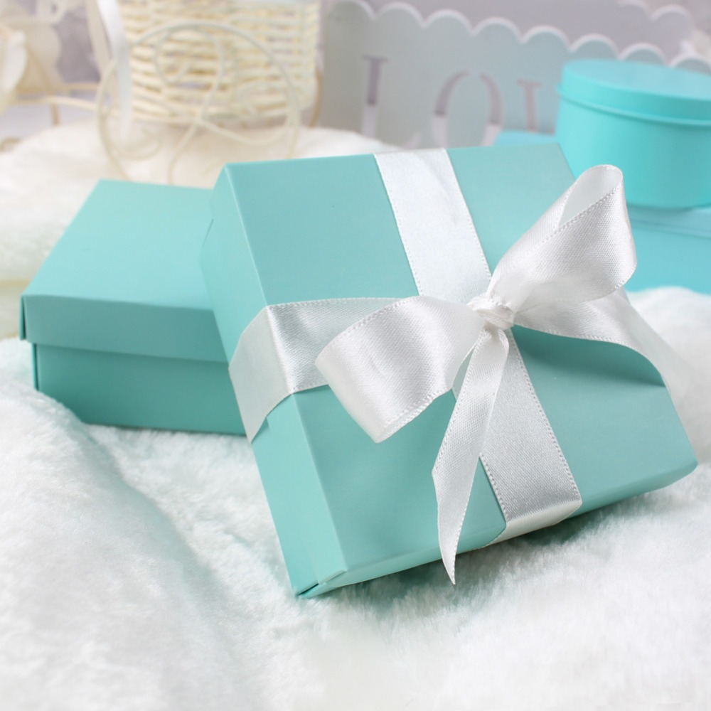 50Pcs Wedding Gift Box Blue Paper Gift Bag with Silk Ribbon Romantic Package Wedding Favors Decorations Event Party Supplies