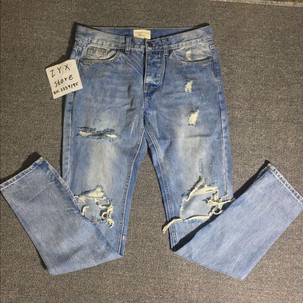 2017 бренд страх Божий RIRI лодыжки молния рваные джинсы Джастин Бибер узкие пережевывать мужчины destoryed джинсы Уличная Канье Уэст