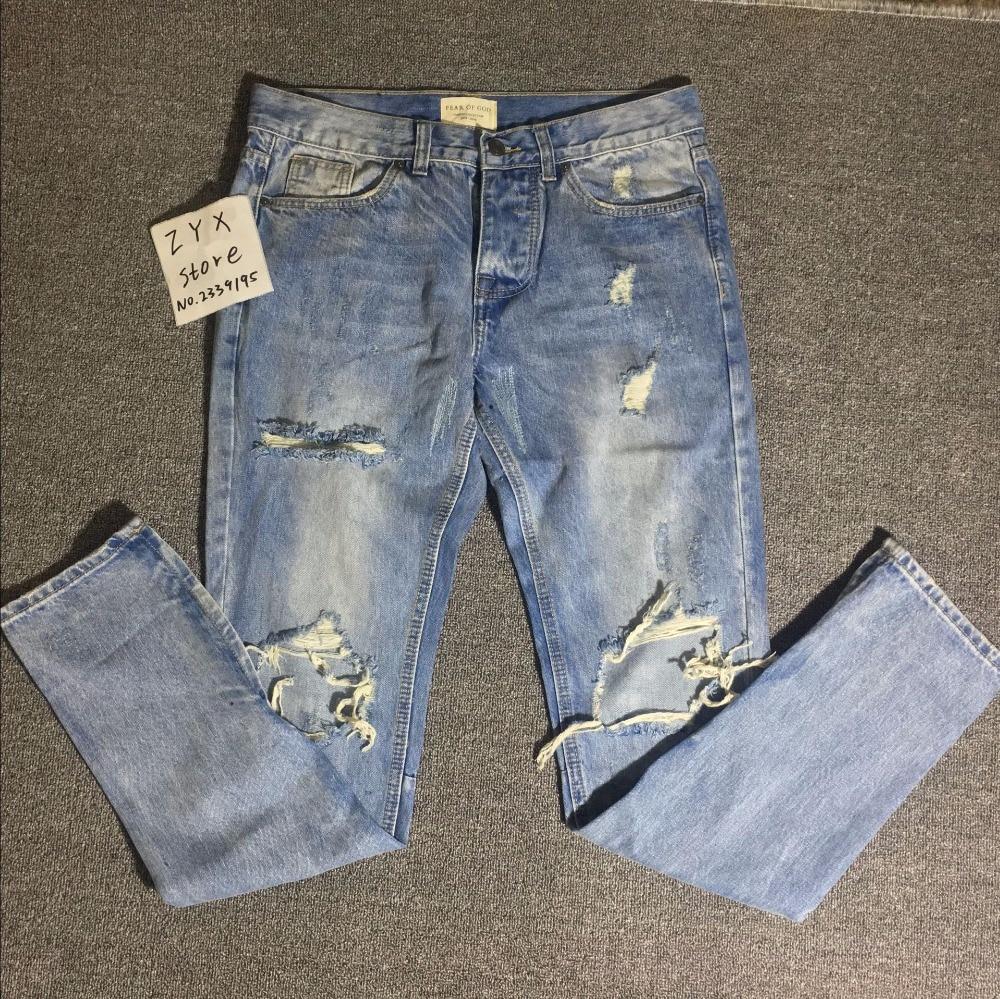 2017 di Marca Di Dio RIRI zip alla caviglia jeans strappati Justin Bieber uomini skinny masticate destoryed jeans streetwear Kanye West