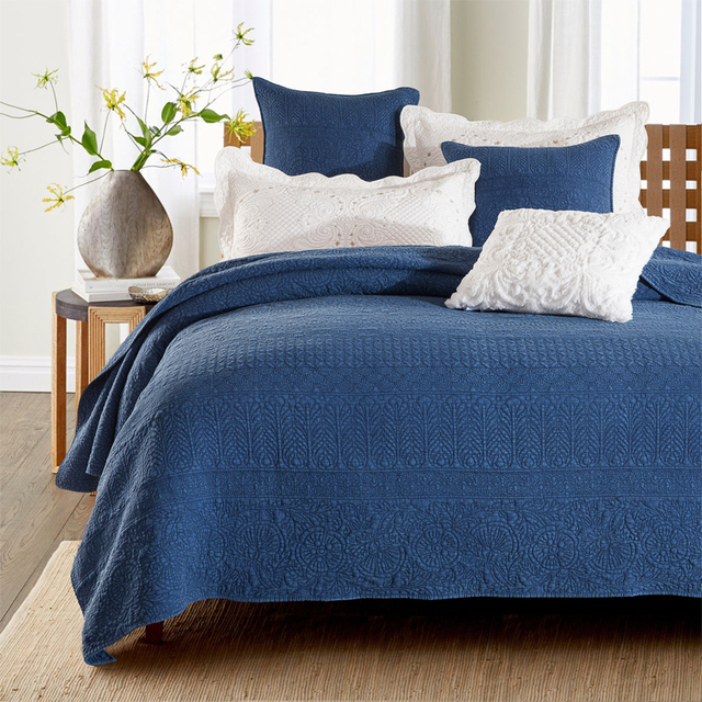 Blue Color Machine Washin Double Bed Summer Cool Cotton Embroidery Bedspread BedCover Mattress Luxury American Quilting & Blue Color Machine Washin Double Bed Summer Cool Cotton Embroidery ...
