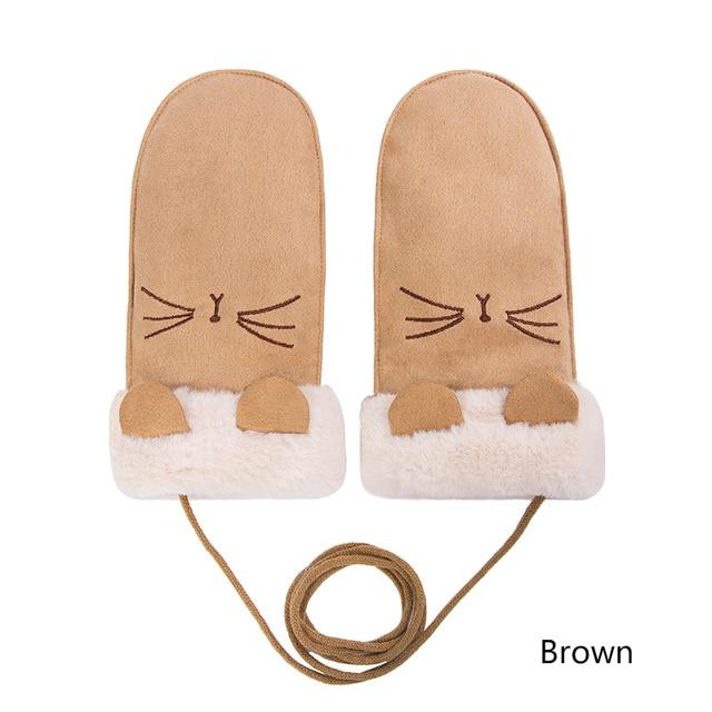 Evrfelan Warm Winter Gloves For Girls Thick Mittens Plus Velvet Solid Color Hanging Neck Cotton Gloves Mittens Women Female