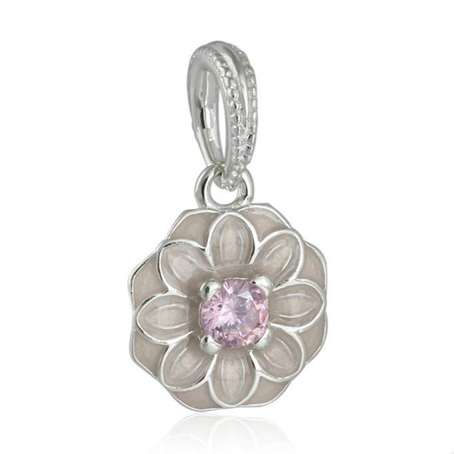 5e33c3ed4 2018 Spring Authentic 925 Sterling Silver Pink Enamel Blooming Dahlia Charm  Fit Original Pandora Charms Bracelet jewelry