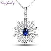 Solid 18Kt White Gold Diamond Sapphire Pendant Necklace Engagement Pendant Sapphire Hot Sale WP059