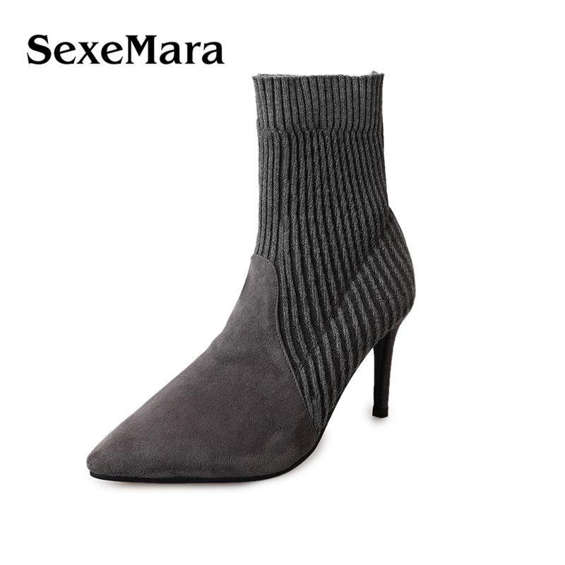SexeMara Women Thin High Heels Boots Stretch Slim Pointed Toe Sock Boots Autumn Winter Sexy Fashion Ladies Party Shoes fashion kardashian ankle elastic sock boots chunky high heels stretch women autumn sexy booties pointed toe women pumps botas