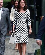 2017 Kate Middleton Princess Dres  New Polka Dot print square collar dres