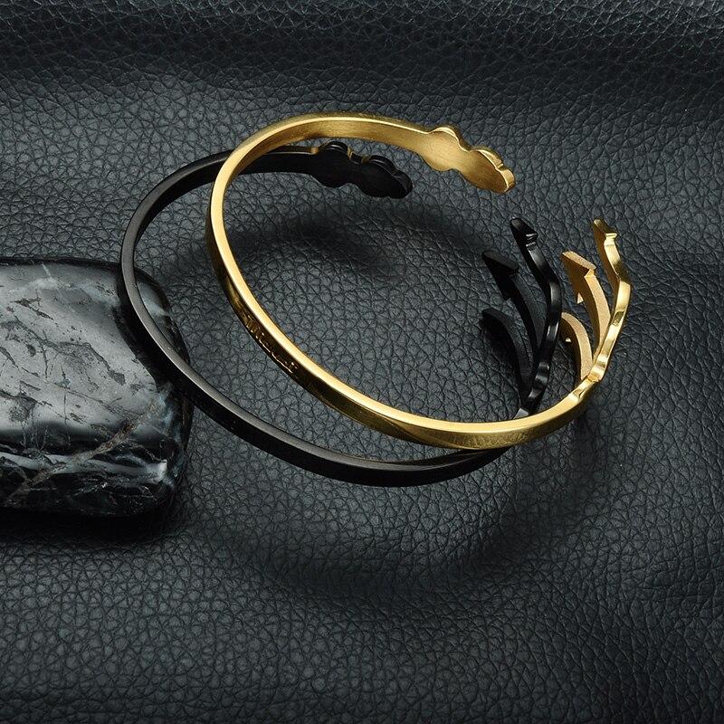 HIP India Cuff Bracelet Open Bangles Rose Gold/Silver Titanium Stainless Steel Fork Trident Bracelet for Men Women Jewelry 10