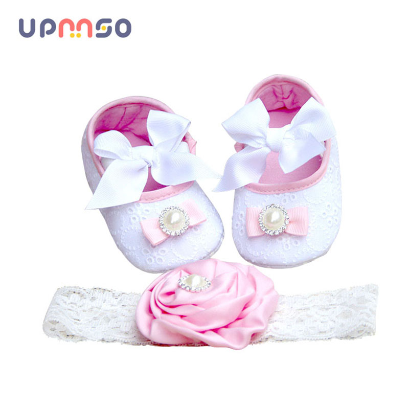 Christening Baptism Newborn Girl Shoes Headband Set Fabric Toddler Baby Booties Soft Sole Baby Slippers Girls Baptismal Shoe ...