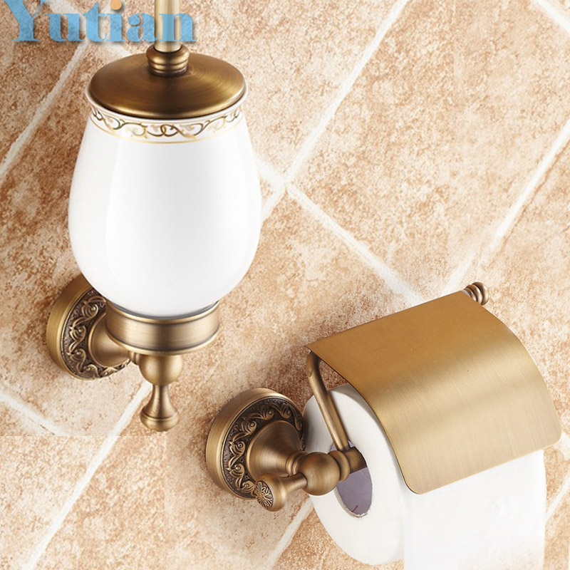 Free shipping,solid brass  Bathroom Accessories Set,Paper Holder toilet brush holder,bathroom sets,antique brassYT-12600-2 free shipping high quality bathroom toilet paper holder wall mounted polished chrome