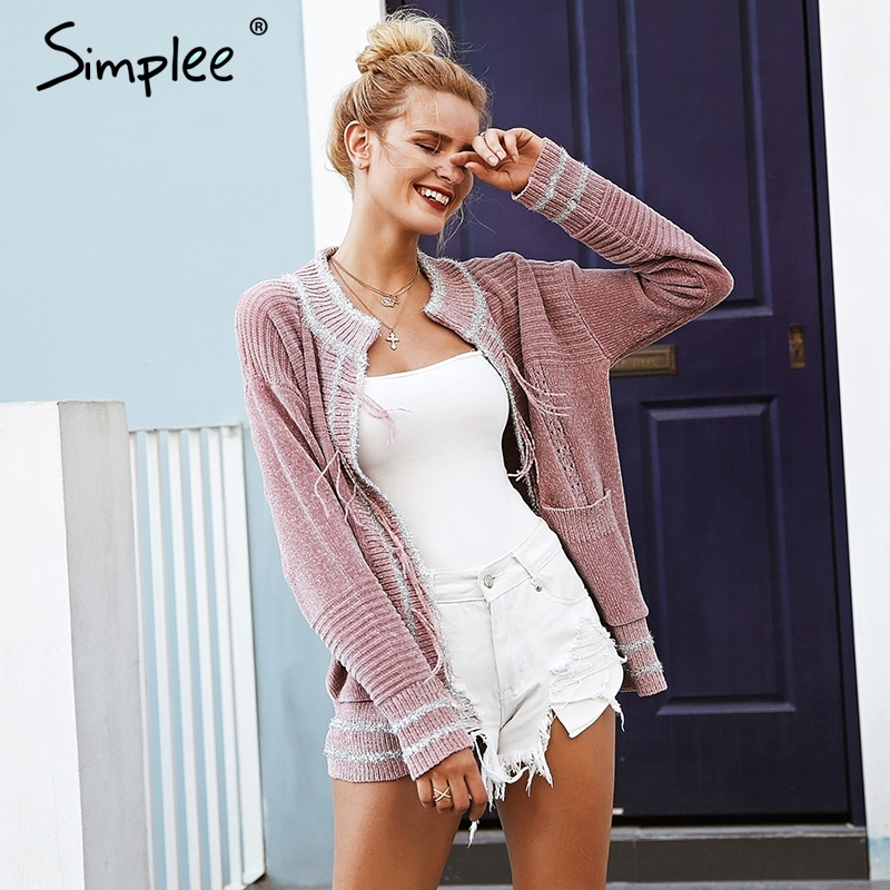 Simplee Elegant Tassel Pockets Women Cardigan Vintage Chenille Autumn Winter 2018 Knitted Cardigan Casual Outwear Female Coat