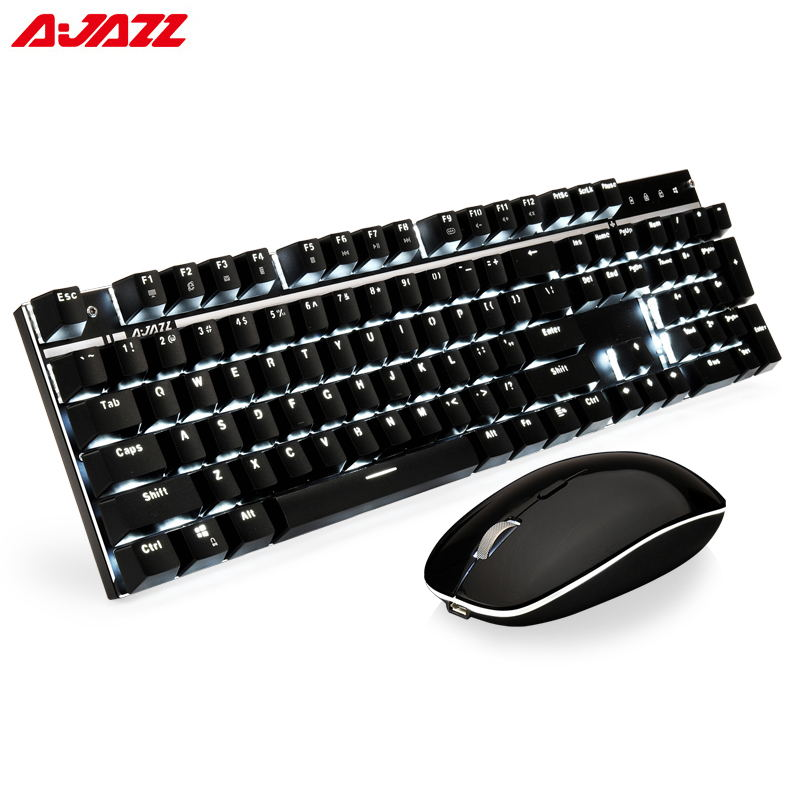Ajazz A3008 2.4G Wireless Mechanical Keyboard & Mouse Combos White Backlit Blue Switches Keyboard 1600DPI Mouse