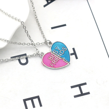 Best Friend Necklace For Women Fashion Pink Blue Peach Heart Puzzle Pendant Broken Heart Clavicle Chain Necklace Jewelry 2018 trendy fashion peach pink shell flower necklace for women jewelry hot