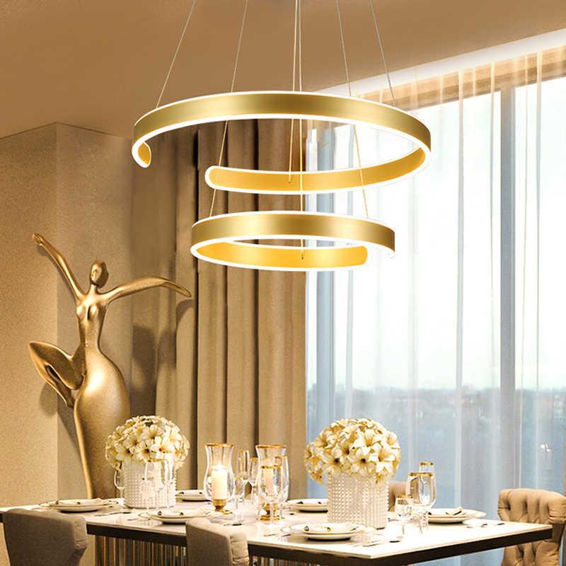 AC90-264VModern kolye ışıkları oturma odası yemek odası için Geometri Daire Yüzük akrilik alüminyum gövde LED aydınlatma tavan lambası