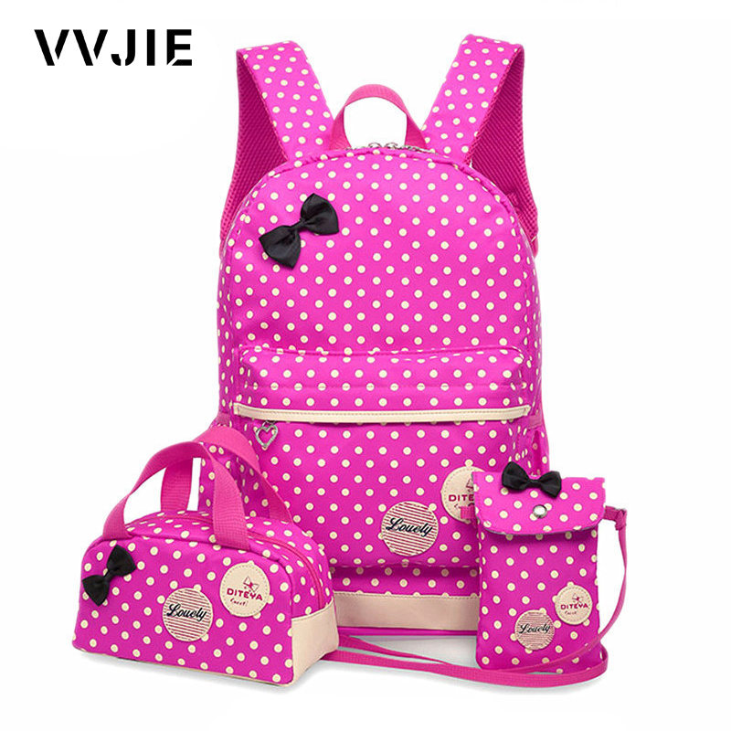 Vvjie Fashion Backpack School Bags For Girls Teenagers Cute Child Backpack 3pcs/set Large Capacity Dot Printing Nylon Rucksack