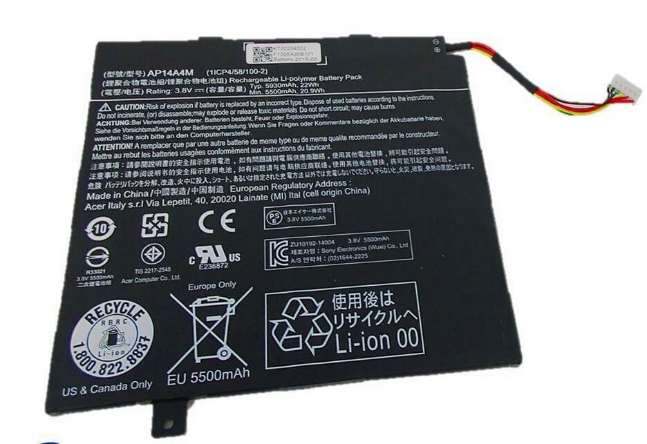 New Battery for Acer Iconia TAB 10 A3-A20 Aspire Switch 10 SW5-011 SW5-012 10-inch Tablet series  AP14P4M, AP14A8M 3.8V 22WH original new touchscreen for acer iconia tab a100 tablet