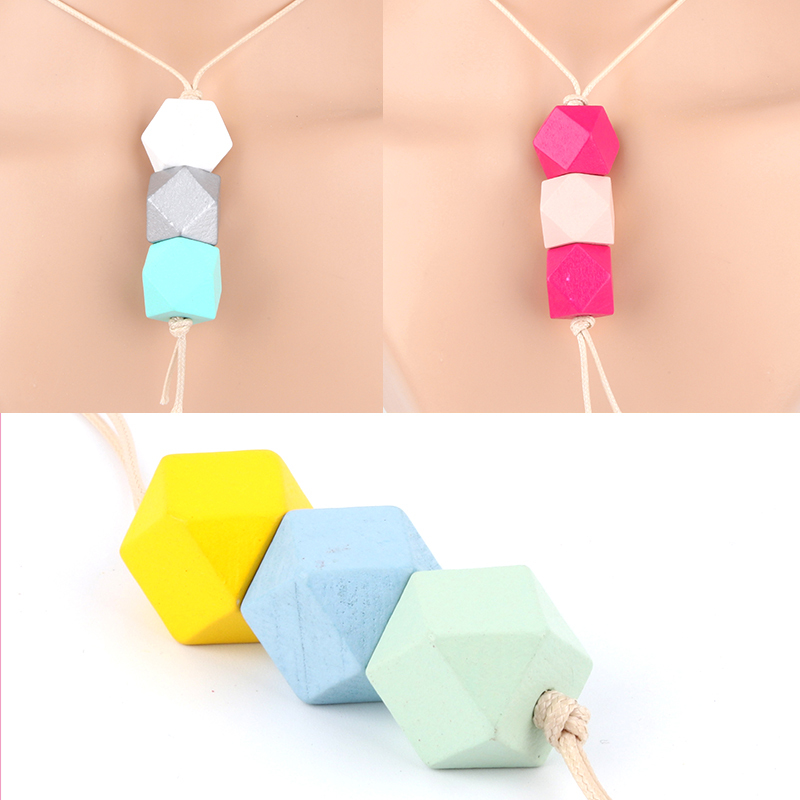 1Pc Geometric Shaped Colorful Wooden Beads Necklaces Long Rope Sweater Collar For Women Gift Bohemia Jewelry <font><b>E2640</b></font>-E2642 image
